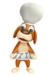 Dog cartoon character with chef hat and dinner plate Royalty Free Stock Image