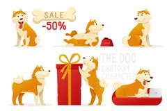 The dog cartoon characters vector illustration. Yellow dogs in different poses vector flat design isolated on white. Background Royalty Free Stock Image