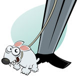 Dog cartoon on dog leash Stock Photos