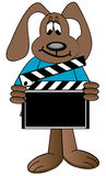 Dog cartoon holding clapboard. Dog cartoon holding up directors clapboard - vector Royalty Free Stock Photo