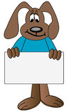 Dog cartoon holding sign Stock Images