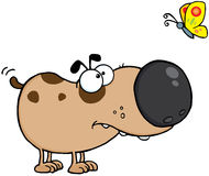 Dog Cartoon Mascot Character With Butterfly Royalty Free Stock Photography