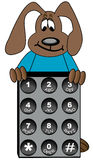 Dog cartoon with phone key pad Royalty Free Stock Photo