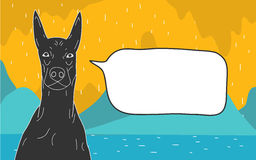 Dog Cartoon With Textbox. Copy space blackground Stock Photography