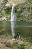 Dog on a cascade pond Royalty Free Stock Images