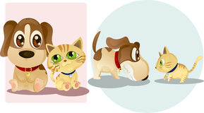 Dog and cat. Vector illustrations of a dog and a cat, being friends and enemies Stock Photo