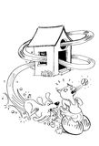 Dog and cat. Dog chasing a cat, cartoon illustration stock illustration