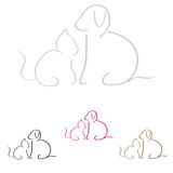 Dog and Cat. Silhouettes of dogs and cats placed in pairs isolated on a white background. Vector available stock illustration