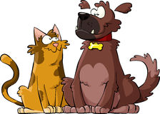Dog and cat. Cartoon dog and cat together, vector stock illustration