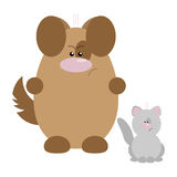 Dog and Cat Angry. Funny cartoon angry dog and his cat friend Royalty Free Stock Photography