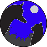 Dog with cat. Dog with a cat on a background of a city under a moon in a round frame Royalty Free Stock Photo