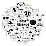 Dog and cat best friends. Hand drawn animals, simple design. Set of cute doodle. Can be used for school books and drawing poster, T-shirt Print and cartoon Stock Photos