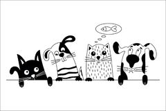 Dog and cat best friends. Funny dog and cute cat best friends. Black and white doodle animals.  Vector illustration Stock Photo