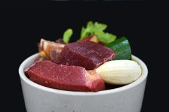 Dog or cat bowl filled with mixture of biologically appropriate raw food containing meat chunks, fruits and vegetables