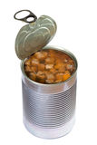 Dog or cat canned food. Opened dog or cat canned food isolated on white background. Clipping path royalty free stock image