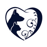 Dog Cat heart logo Royalty Free Stock Photo