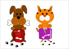 Dog and cat cartoon characters. Cartoon characters of a dog and cat for Xmas Stock Photos