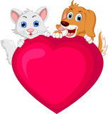 Dog and cat cartoon holding love heart. Illustration of dog and cat cartoon holding love heart Royalty Free Stock Photos