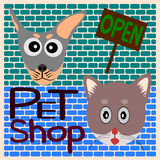 Dog and Cat cartoon, label pet shop open Royalty Free Stock Photos