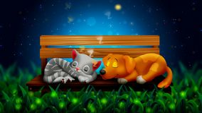 Dog and cat cartoon are sleeping together, and beautiful fireflies in the night