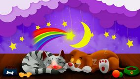Dog and cat cartoon are sleeping together ,best loop video background to put a baby to sleep calming and relaxing