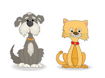 Dog and cat cute cartoon vector. Illustration Stock Photography
