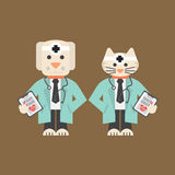 Dog And Cat In Doctor Uniform. Royalty Free Stock Images