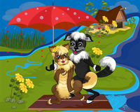 Dog and cat floating on a raft. Happy dog and cat are stand under an umbrella on a wooden raft in a rainy day Royalty Free Stock Photos