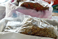 Dog and cat food for sale in petshop Stock Photo