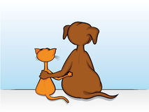 Dog and Cat Friendship. Dog and Cat Sitting with Arms Around Each Other Stock Photo