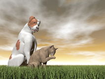 Dog and cat friendship - 3D render Stock Photo