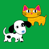 Dog and Cat. Friendship forever. This  is isolated on color background Stock Photography