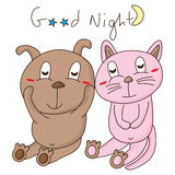 Dog cat good night Royalty Free Stock Photo