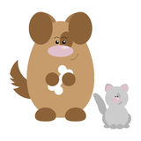 Dog and Cat Happy. Funny cartoon happy dog and his cat friend Royalty Free Stock Photos