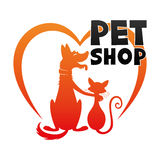 Dog with a cat and a heart. Dog with a cat and a heart for a pet shop sign Stock Images