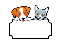 Dog and Cat. Holding a blank banner Stock Image