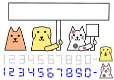 Dog and cat holding board, with numbers.  royalty free illustration
