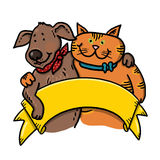 Dog and cat holding a banner illustration Stock Image