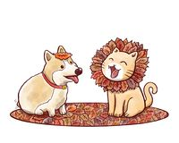 Dog and cat imitating lion with mane made of autumn leaves. Illustration of a cute corgi dog and a cat imitating a lion with mane made of autumn leaves Royalty Free Stock Photos