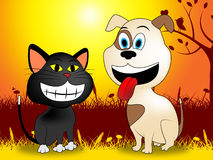 Dog With Cat Indicates Doggy Kitty And Meadows Stock Image