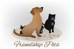 Dog and cat and kittens silhouettes logo royalty free illustration