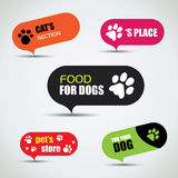 Dog and cat labeled pet store bubbles. Vector illustration Royalty Free Stock Photo