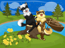 Dog and cat looking at the stars in the sky. A dog and a cat sailed on a boat to the island and look at the stars together Royalty Free Stock Image