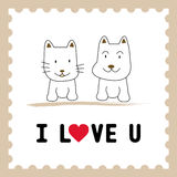Dog and Cat in love1 Royalty Free Stock Photos
