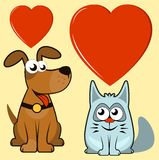 dog and cat lovers Stock Photography