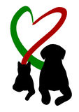 Dog and cat making Heart with tail. Silhouette of Dog and cat making Heart with tail Royalty Free Stock Photo