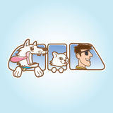Dog ,cat and man in car window vector illustration