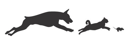 Dog Cat and Mouse. Royalty Free Stock Photo