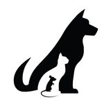 Dog cat and mouse. Silhouettes composition Stock Images