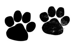 Dog or cat paw print logo on white background.